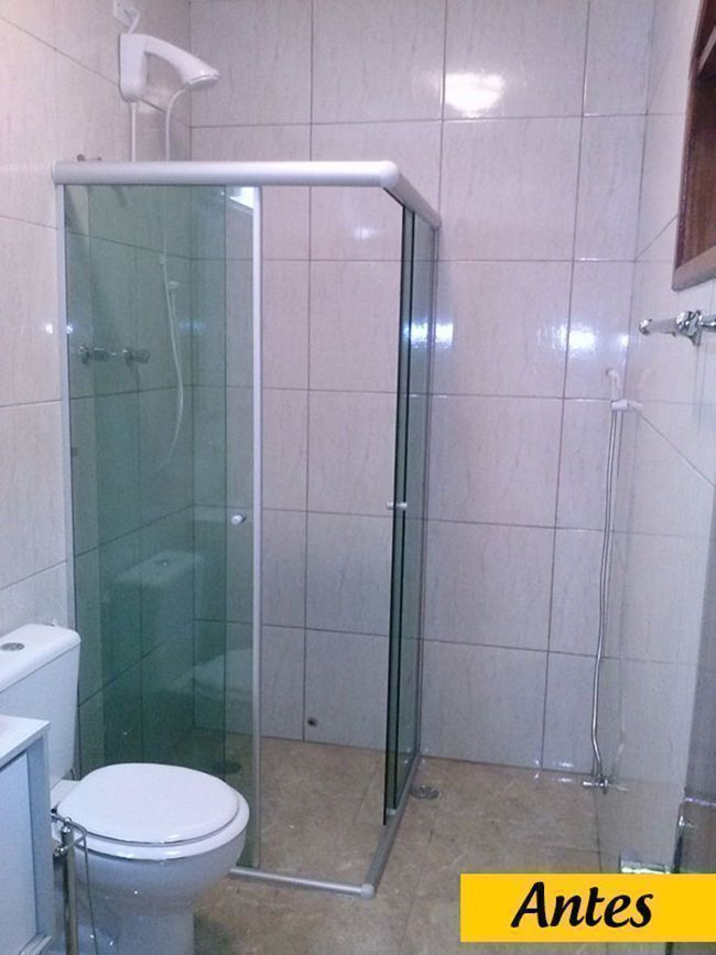Tamanho padrão de box para banheiro : Como mudar o design do box utilizando mesmo vidro