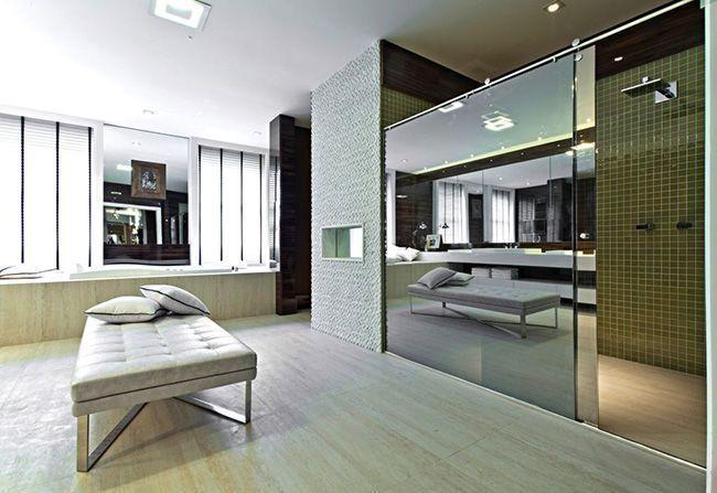 Quarto é ampliado com integração do banheiro  Revista Vidro Impresso -> Banheiro Pequeno De Vidro Dentro Do Quarto