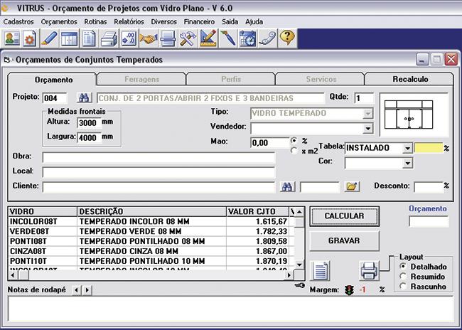 Vitrus - Software setro vidreiro